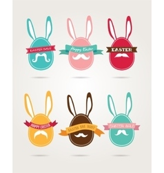 Easter vintage hipster eggs and rabbits vector