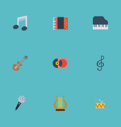 flat icons tambourine quaver acoustic and other vector image vector image