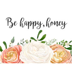 floral design card peach pink white garden rose vector image vector image