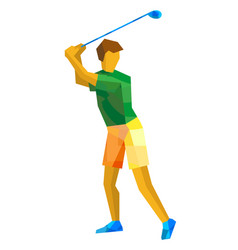 Golf player with green and yellow patterns vector