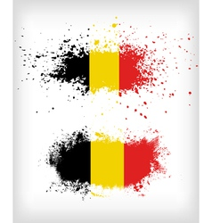 Grunge belgian ink splattered flag vector
