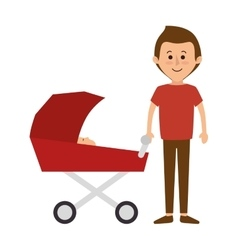 happy family members with baby car vector image