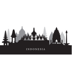 indonesia landmarks skyline in black and white vector image vector image