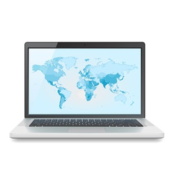 Laptop with World map vector image