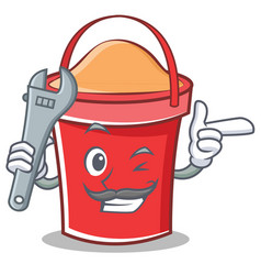 mechanic bucket character cartoon style vector image vector image