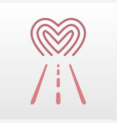 road way to heart logo icon vector image