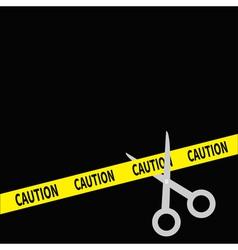 Scissors cut caution ribbon on the right flat desi vector