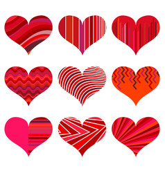 set of different red hearts vector image