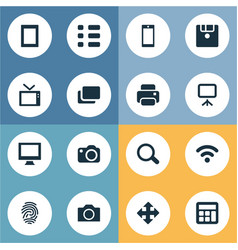 Set of simple device icons vector