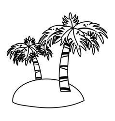 Small island with palm trees icon image vector