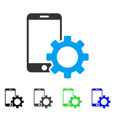 Smartphone configuration gear flat icon vector