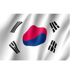 south korea flag flat style vector image