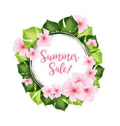 summer sale circle banner with green leaves and vector image