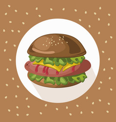 Tasty american hamburger logo background vector