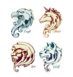 Vintage animals heads vector