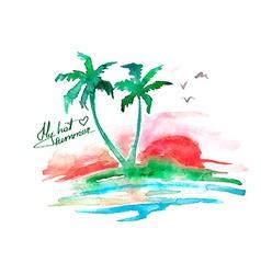 Watercolor tropical island vector