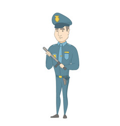 Young serious caucasian policeman with baton vector