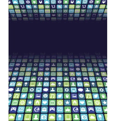ackground with app and internet icons vector image