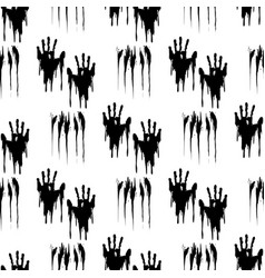 Black handprints seamless pattern vector image
