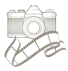 Retro photo camera with vignette vector image