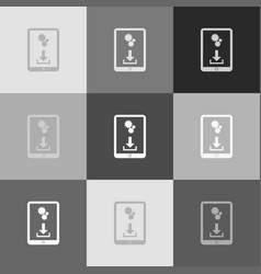 Phone icon with settings symbol  grayscale vector