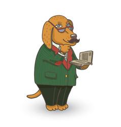 Professor dog vector