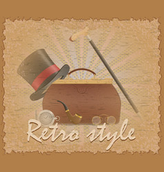 retro style poster old valise and mens vector image