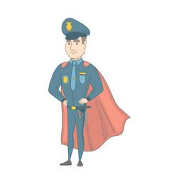 Caucasian policeman wearing a red superhero cloak vector