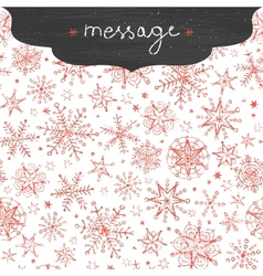 Chalkboard snowflakes frame border seamless vector