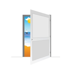 Door with beach vector