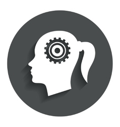 Head with gear sign icon female woman head vector
