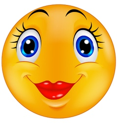 Cute female emoticon smiley vector