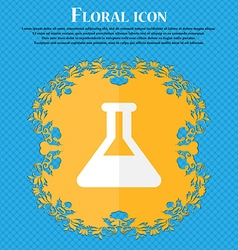 Conical flask floral flat design on a blue vector