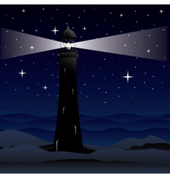 Lighthouse and night sea vector