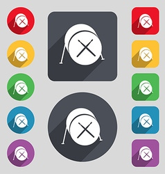 Drum icon sign a set of 12 colored buttons and a vector