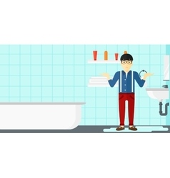 Man in despair standing near leaking sink vector