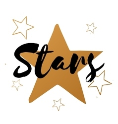Set of stars with black text big gold star vector