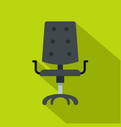 Black office chair icon flat style vector