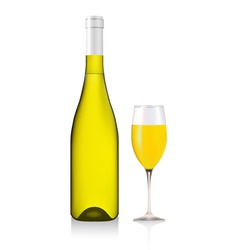 bottle and glass with white wine vector image vector image
