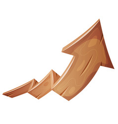 Cartoon wood rising arrow vector