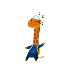 cute funny little giraffe student listening music vector image