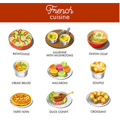 delicious french cuisine with most famous vector image vector image