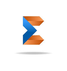 E letter - blue and orange business logo icon for vector image vector image