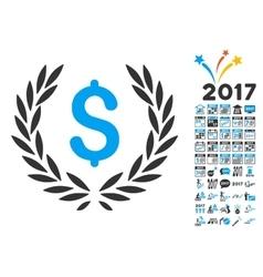 Financial laurel wreath icon with 2017 year bonus vector