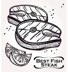 Fish steak meat and lemon vector