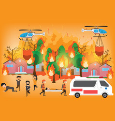 forest fire infographics burning forest trees in vector image