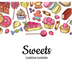 hand drawn colored sweets shop or vector image vector image