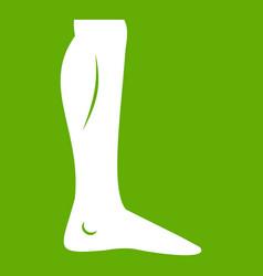 Human leg icon green vector