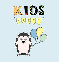 kids party lettering party with hendehoh and vector image vector image