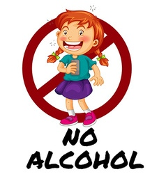 No alcohol sign with girl drinking vector image